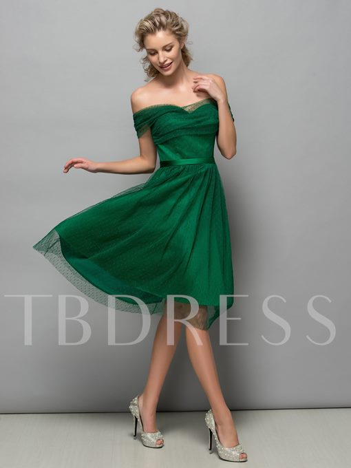 A-Line Off-The-Shoulder Tulle Cocktail Dress