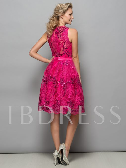 A-Line Knee-Length Appliques Sequins Cocktail Dress