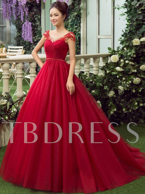 Cap Sleeves Bowknot Appliques Ball Gown Quinceanera Dress