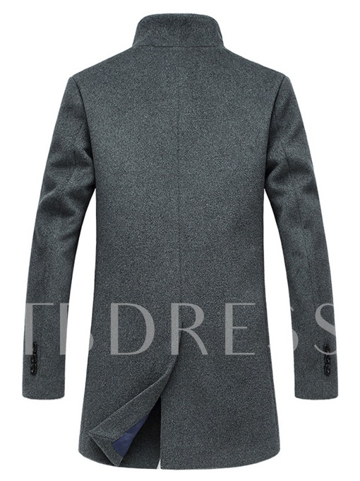 Stand Collar Midi-Length Men's Woolen Coat with Single-Breasted