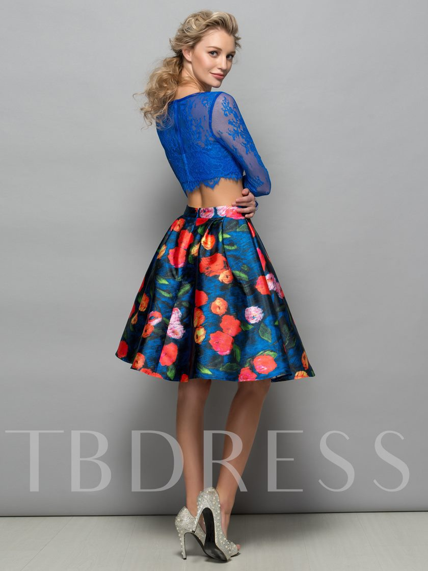 Long Sleeves Lace Print Two-Piece Cocktail Dress