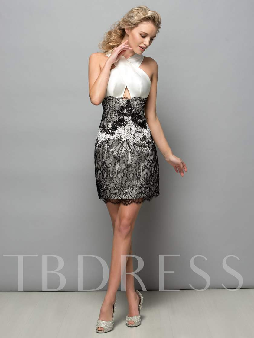 Criss-Cross Neck Sheath Lace Short Cocktail Dress