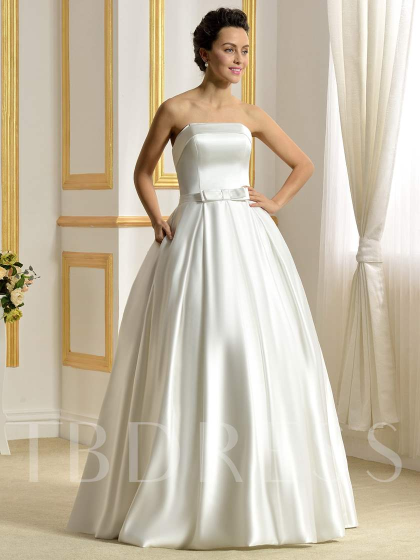 Strapless Matte Satin Ball Gown Bowknot Pockets Wedding Dress ...
