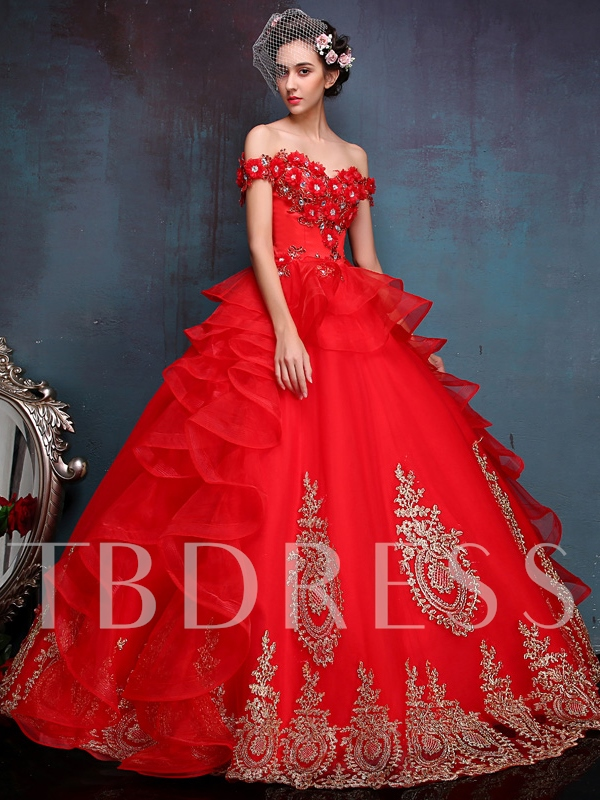 Off-The-Shoulder Beading Appliques Ball Gown Quinceanera Dress