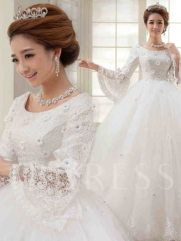 V-Neck Trumpet Sleeve Lace Ball Gown Muslim Wedding Dress
