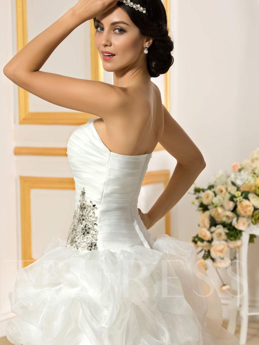 Pick-Ups Beading High Low Beach Wedding Dress