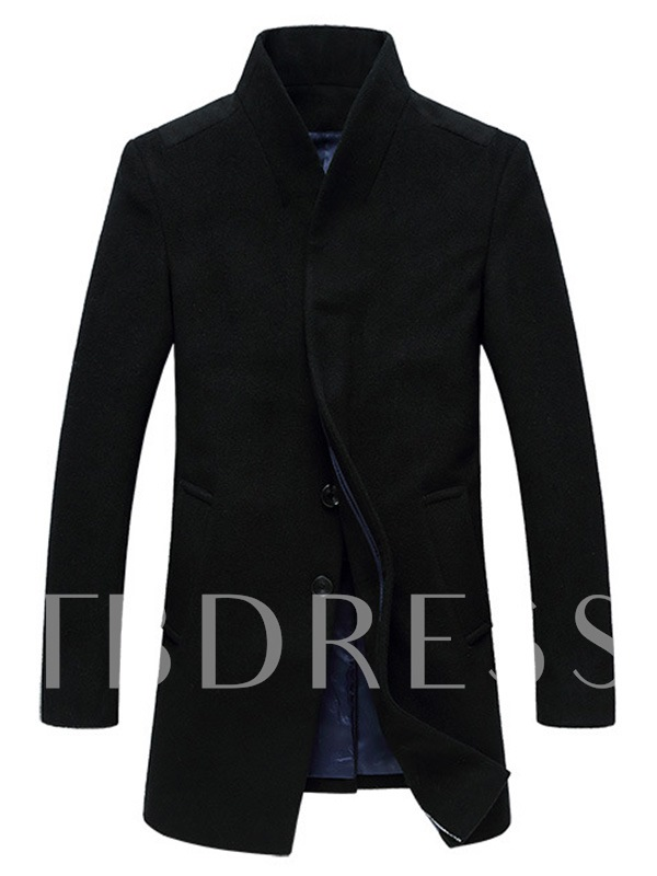 Buy Stand Collar Midi-Length Men's Woolen Coat with Single-Breasted, Spring,Fall,Winter, 11591501 for $62.99 in TBDress store