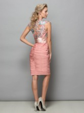 Jewel Neck Appliques Pleats Short Cocktail Dress