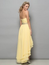 A-Line Strapless Asymmetrical Length Cocktail Dress