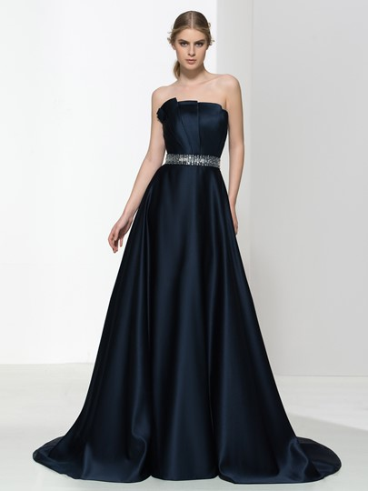 A-Line Scalloped-EdgeBeaded Court Train Evening Dress