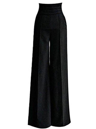 Black High Waist Velvet Palazzo Women's Pants