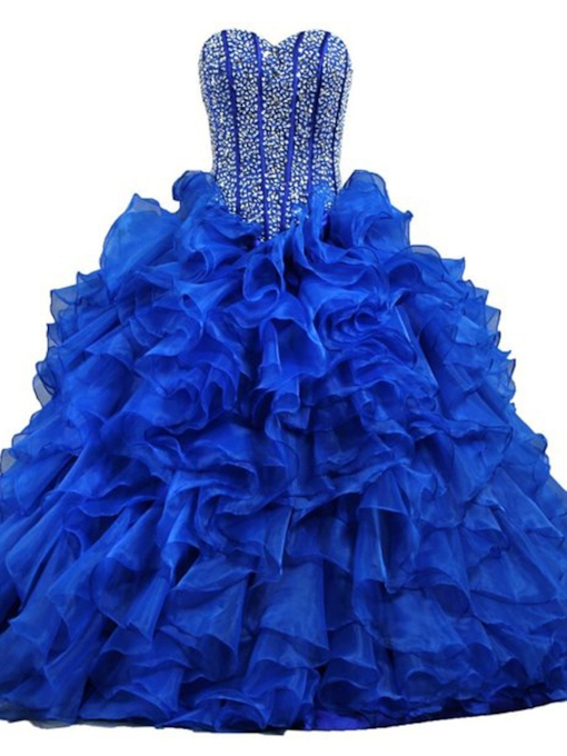 Sweetheart Beaded Ball Gown Royal Blue Quinceanera Dress