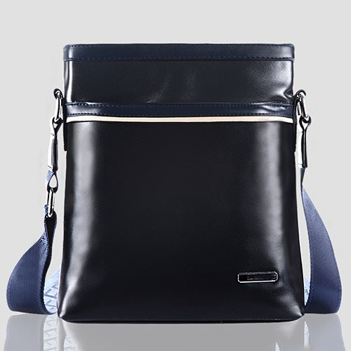 Glossy Zipper Men's Messenger Bag