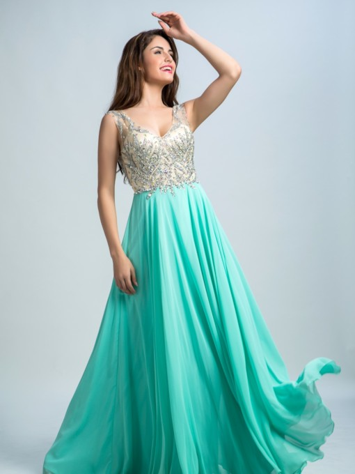 Straps V-Neck Beaded Open Back Prom Dress