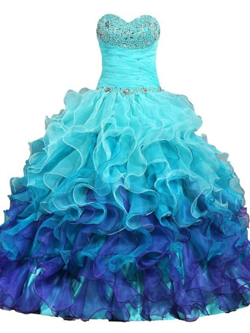 Sweetheart Cascarding Ruffles Long Ball Gown Dress