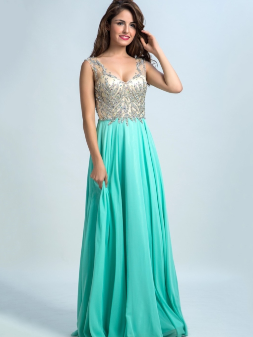 A-Line V-Neck Beaded Ruffles Long Prom Dress