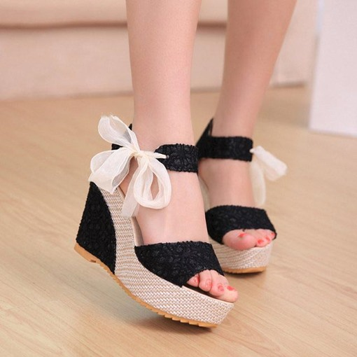 Lace-Up Front Floral Platform Wedge Heel Open Toe Women's Sandals