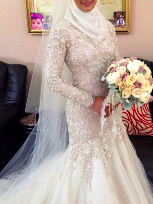 Button Back Beading Lace Mermaid Muslim Wedding Dress