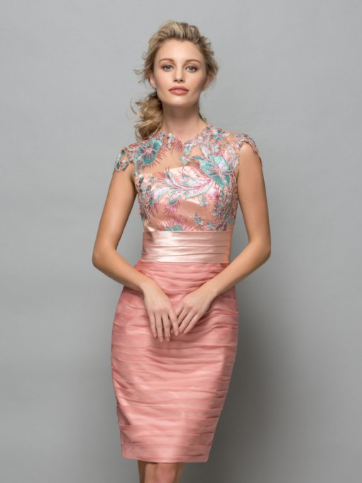 Cowl Neck Appliques Pleats Short Cocktail Dress