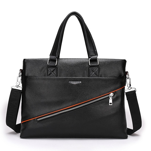 Transverse Cross Zipper Out Pocket Men's Tote Bag