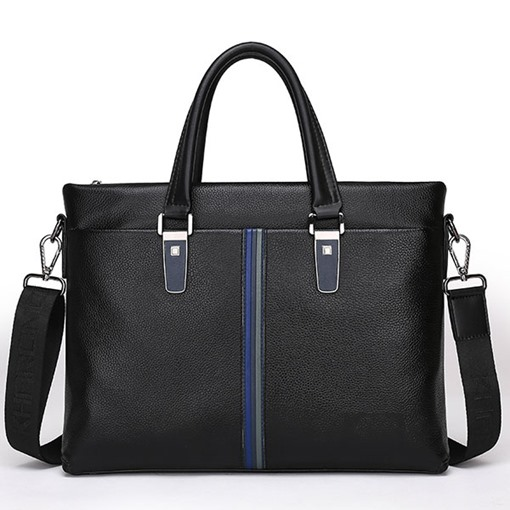Business Cowhide Litchi Grain Zipper Men's Tote Bag
