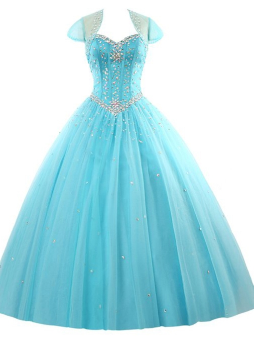 Beaded Lace-Up Long Ball Gown With Jacket