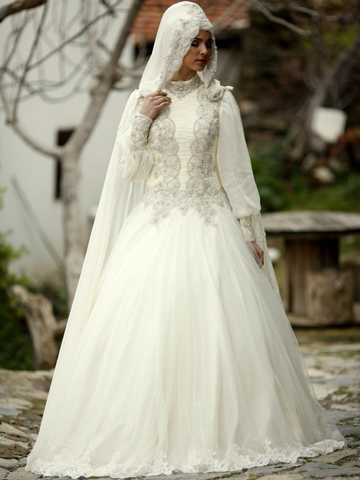 Beaded Lantern Sleeves Muslim Wedding Dress