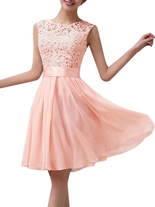 Jewel Neck Lace Short Bridesmaid Dress