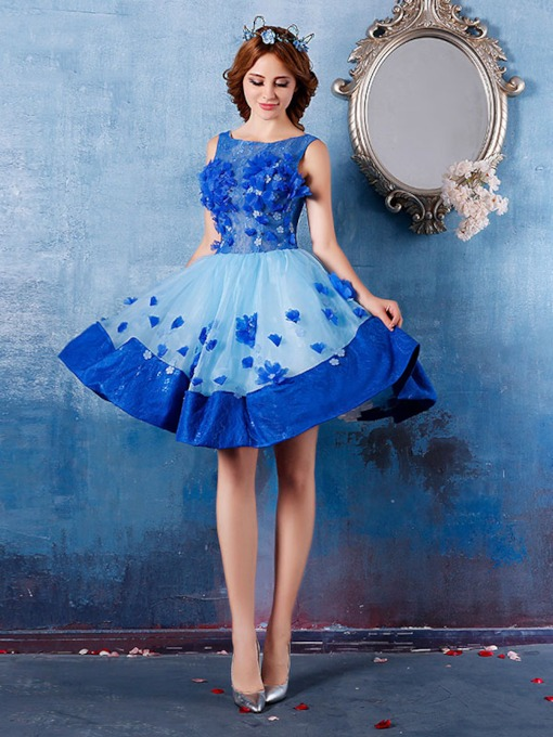 Ball Gown Appliques Short Mini Sleeveless Homecoming Dress 2020