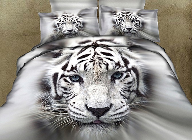 White Tiger Printed Cotton 4-Piece 3D Bedding Sets/Duvet Covers