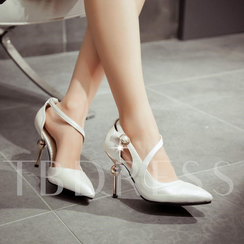 Pointed Toe Stiletto Heel Plain Stripe Women's Pumps