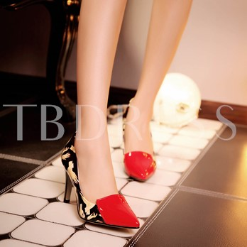 Pointed Toe Slip-On Hand Painted Goblet Heel Women's Pumps