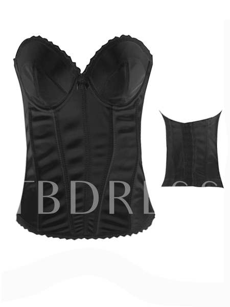 Solid Color Pleated Patchwork Women's Corset