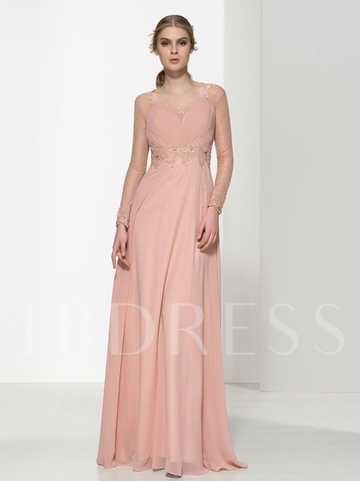 Long Sleeve Button Pleats Floor-Length Evening Dress