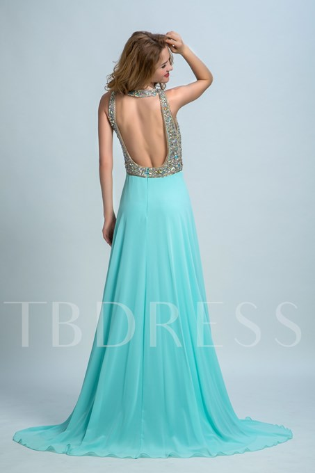 A-Line Open Back Beaded Long Prom Dress
