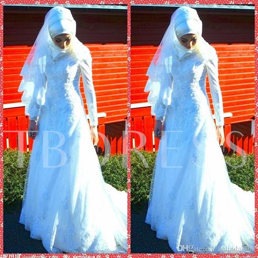 Appliques Beading Lace Long Sleeve A-Line Arabic Wedding Dress
