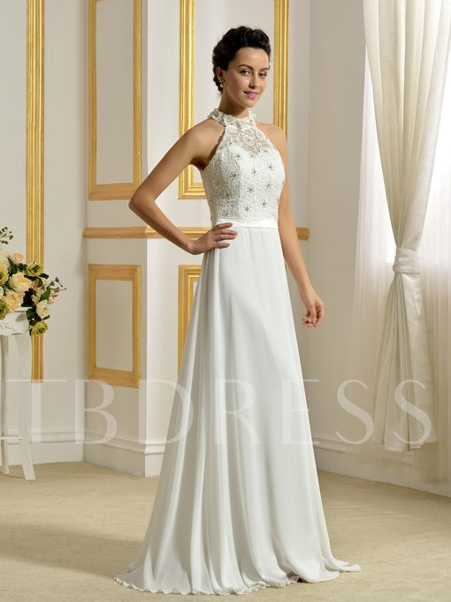 Jewel Neckline Beading Lace Chiffon A-Line Beach Wedding Dress