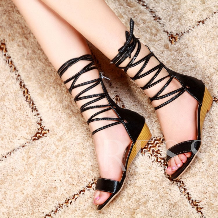 Open Toe Lace-Up Front Plain Zipper Women's Sandals