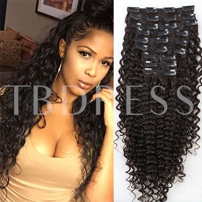 Kinky Curly Human Hair 7pcs Clip In Hair Extension