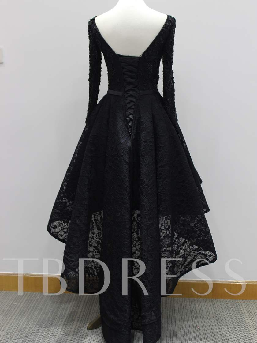 Long Sleeves Beading High Low Lace Evening Dress