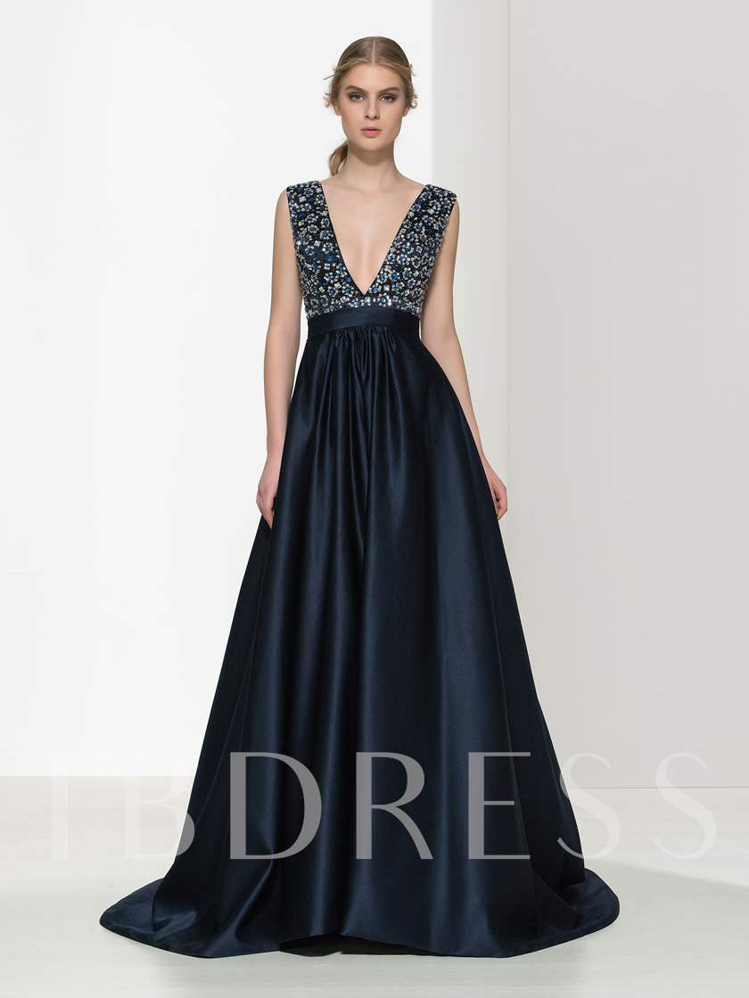 A-Line Double V-Neck Beaded Long Evening Dress