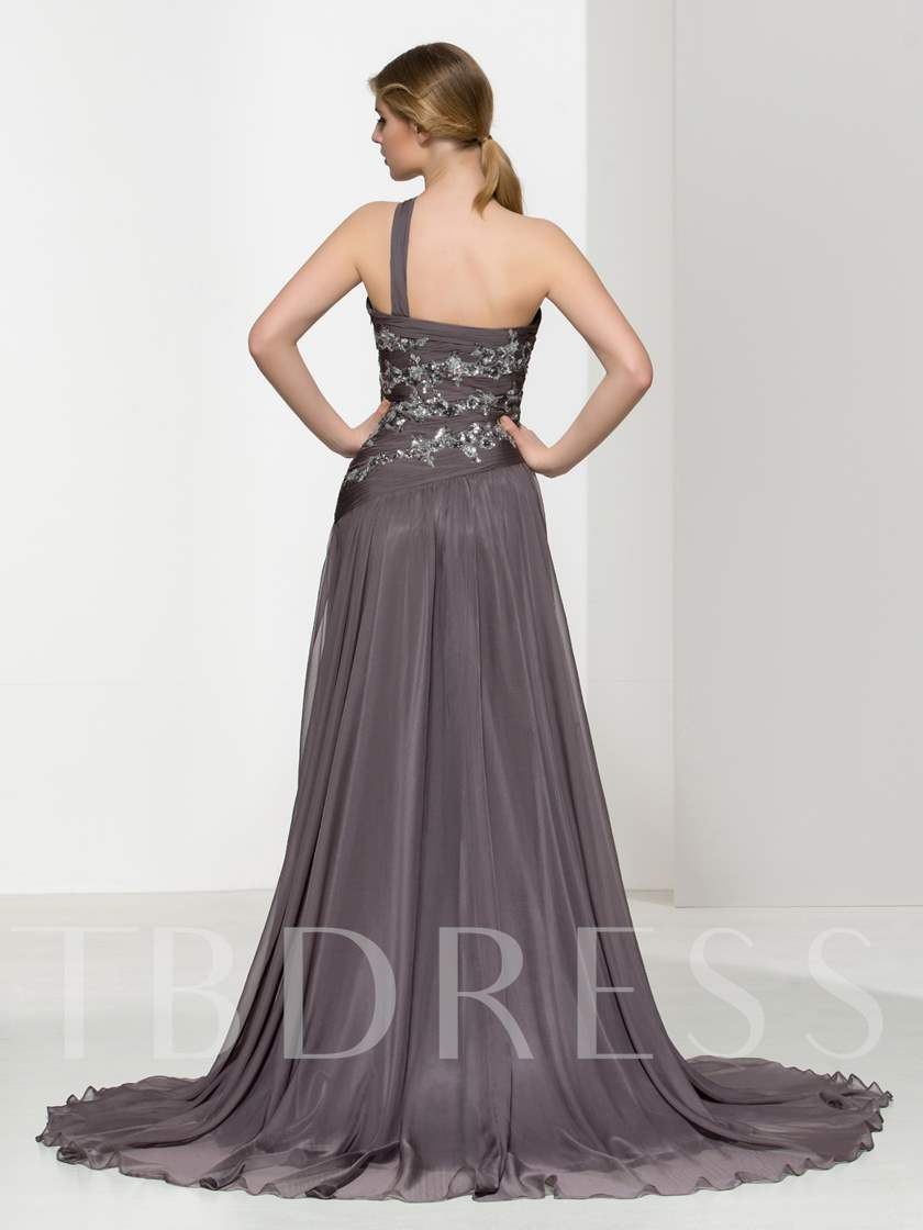 One-Shoulder Pleats Sequins Long Evening Dress