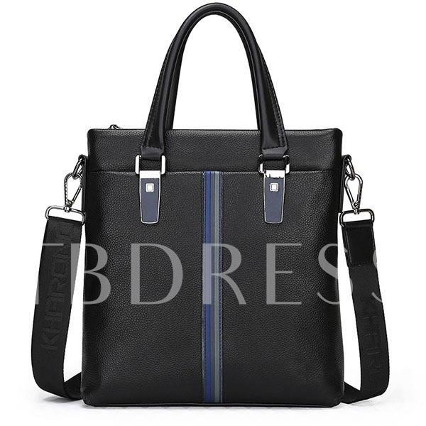 Business Stripe Patchwork Artifical Leather Men's Tote Bag