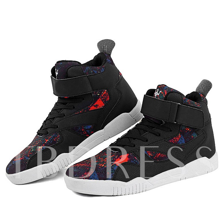 Round Toe Color Block Cross Strap Ankle Men's Sneakers