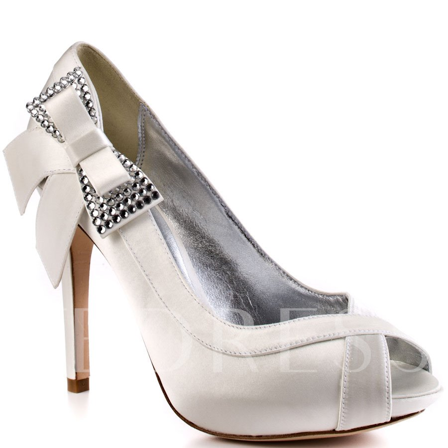 Peep Toe Stiletto Heel Bowtie Platform Rhinestone Slip-On Women's Pumps