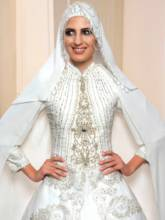 Appliques Beaded Balll Gown Muslim Wedding Dress with Hijab