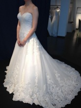 A-Line Sweetheart Court Train Lace Wedding Dress