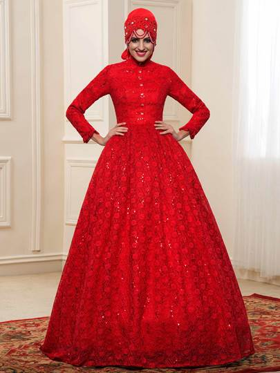 Red Sequins Lace Muslim Wedding Dress