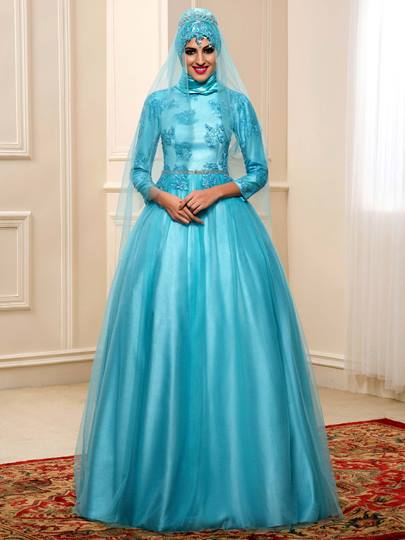 A-Line Appliques Tulle Muslim Arabic Wedding Dress in Color