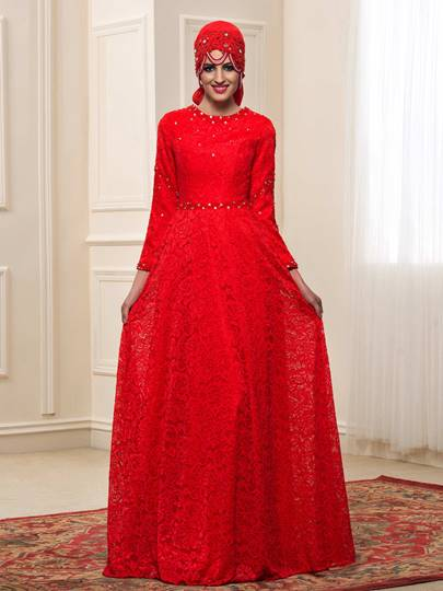 Beaded Lace Muslim Wedding Dress